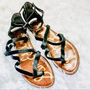 SAM EDELMAN • Black Cowhide Gladiator Sandals • 8